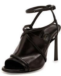 Lanvin Leather Crisscross Glove Sandal Black