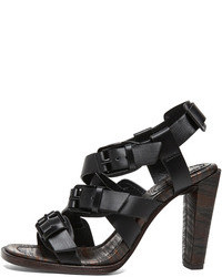 3.1 Phillip Lim Leather Strapped Heel Sandals In Black