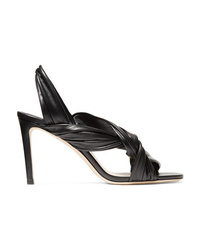 Jimmy Choo Leila 85 Knotted Leather Slingback Sandals