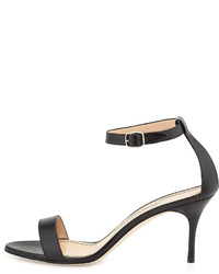 Manolo Blahnik Chaos Leather Low Heel Sandal Black | Where to buy ...