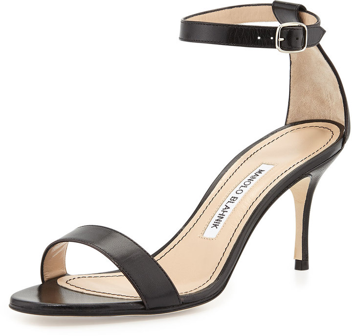 Manolo Blahnik Chaos Leather Low Heel Sandal Black | Where to buy