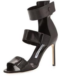 Manolo Blahnik Mielozela Three Strap High Heel Sandal Black