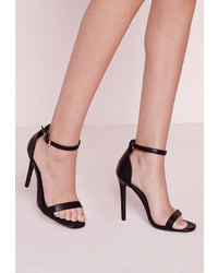Missguided Barely There Strappy Heeled Sandals Black