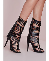 Missguided Ultra Strappy Gladiator Heeled Sandals Black