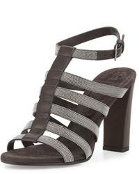 Brunello Cucinelli Monili Caged High Heel Sandal Onyx