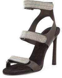 Brunello Cucinelli Monili Triple Strap High Heel Sandal Onyx