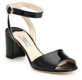 Prada Patent Leather Block Heel Sandals