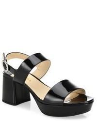 Prada Patent Leather Block Heel Slingbacks
