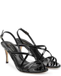 Sergio Rossi Patent Leather Mid Heel Sandals