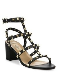 Valentino Garavani Rockstud Leather Block Heel Sandals