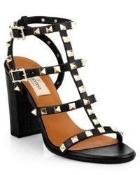 Valentino Rockstud Leather T Strap Block Heel Sandals