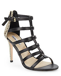 Charles David Smooth Snake Embossed Leather Strappy Sandals