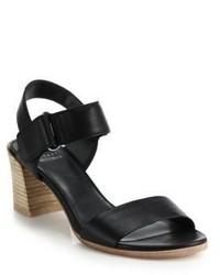 Stuart Weitzman Stacked Heel Leather Sandals