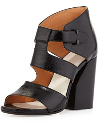 Maison Margiela Strappy Leather Cutout Sandal Black