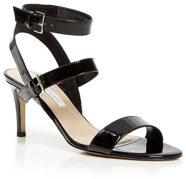 0c5a599f7aa ... Black Leather Heeled Sandals Diane von Furstenberg Strappy Sandals  Dahlia Mid Heel ...