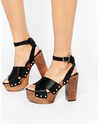 Asos Touched Leather Heeled Sandals