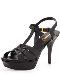 Saint Laurent Tribute Leather 75mm Sandal Black