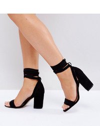 ASOS DESIGN Wide Fit Howling Tie Leg Heeled Sandals