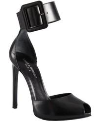 Saint Laurent Yves Black Leather Ankle Strap Open Toe Heels