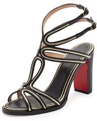 Christian Louboutin Zenobissima Block Heel Red Sole Sandal Platine