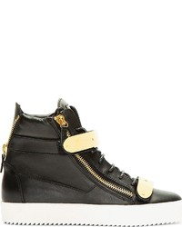 Black Jeans Black Leather High Top Sneakers