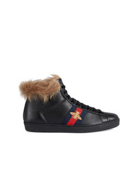 Gucci Ace High Top Sneaker With Fur