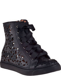 Jeffrey Campbell Adaisy Hi Top Sneaker Black Leather
