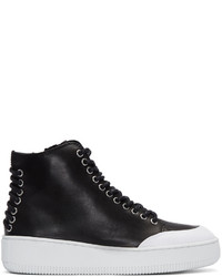 MCQ Alexander Ueen Black Netil High Top Sneakers