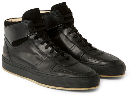 5dc1b41f8d5 ... Black Leather High Top Sneakers Common Projects Bball Leather High Top  Sneakers ...