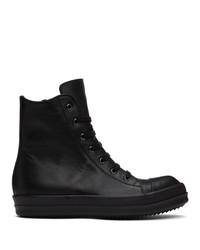 Rick Owens Black Capped High Top Sneakers