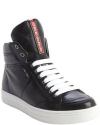62431b482d22 ... Prada Black Leather Zipper Detail High Top Sneakers