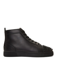 Christian Louboutin Black Lou Spikes High Top Sneakers