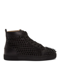 Christian Louboutin Black Louis Spikes High Top Sneakers