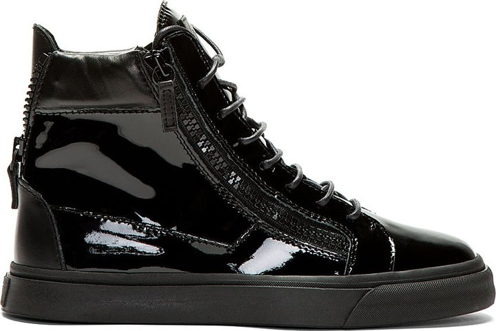 4e3c430316474 Giuseppe Zanotti Black Patent Leather High Top Sneakers, $695 ...