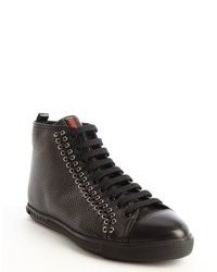 2ade85d90c77 ... Prada Black Perforated Leather Multi Eyelet Stitched High Top Sneakers