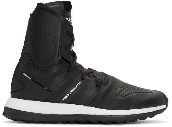 0cb21bf1e ... Y-3 Black Pure Boost Zg High Top Sneakers ...
