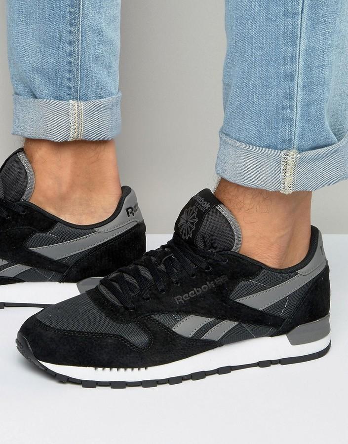 502d2d9c01 $98, Reebok Classic Leather Clip Sneakers In Black Aq9794