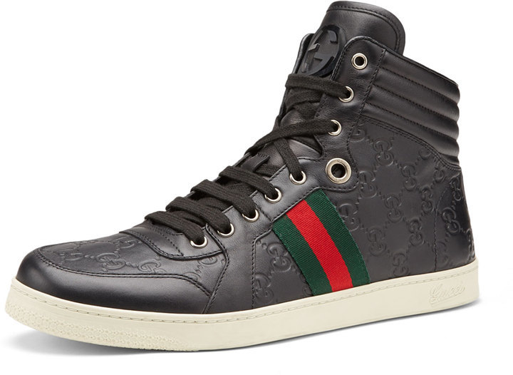 f134bd72695 ... Gucci Coda Ssima Leather High Top Sneaker Black ...