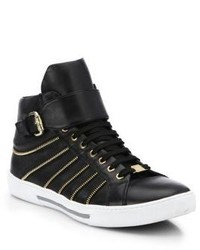 Versace Collection Leather Zip High Top