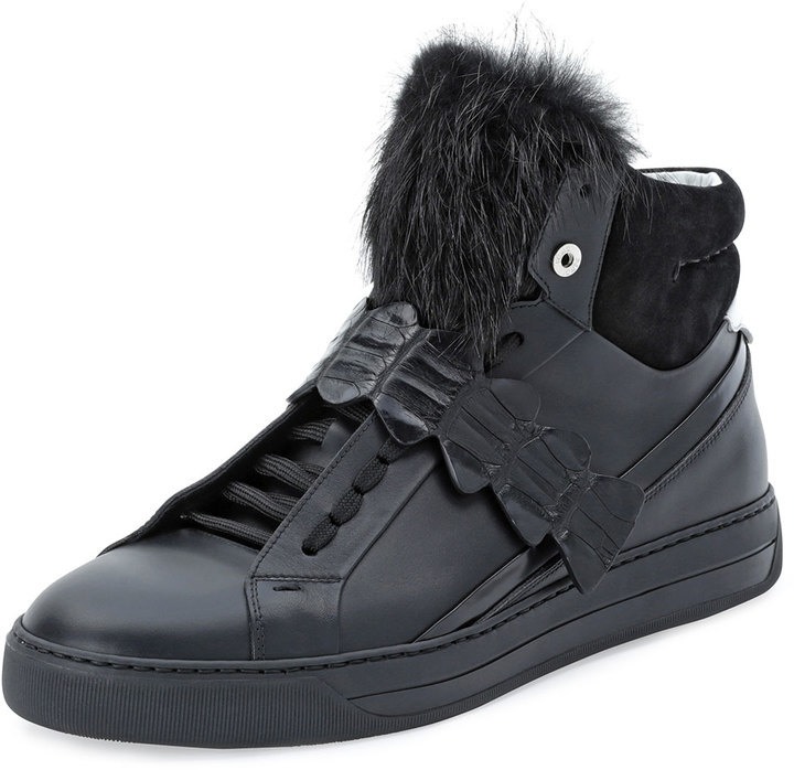 157b789362 $1,900, Fendi Croc Strap Leather High Top Sneaker Black
