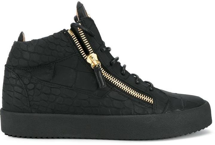 aff8cea608f36 Giuseppe Zanotti Design Crocodile Embossed High Top Sneakers, $676 ...