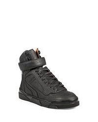 Givenchy Leather High Top Lace Up Sneakers Black