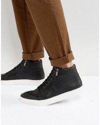 Hugo Boss Hugo By Embossed Leather Zip And Lace High Top Sneakers Black