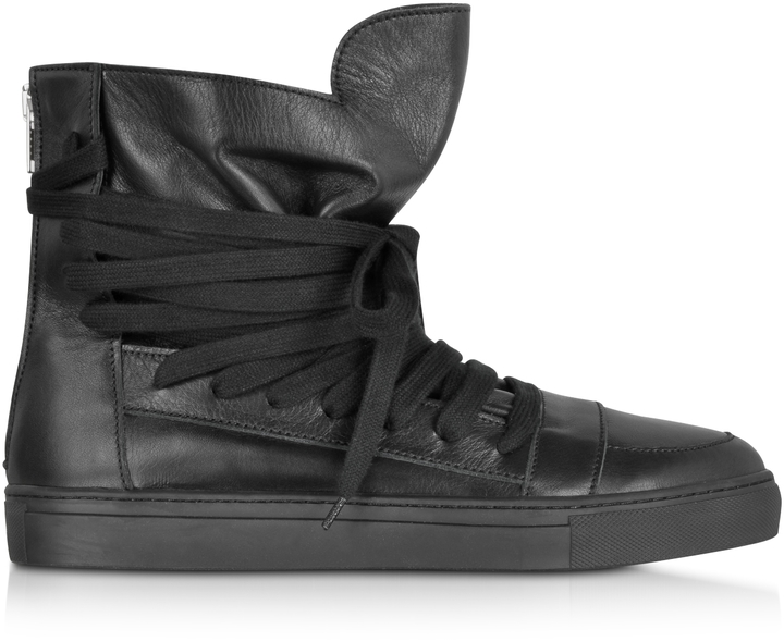 56afbdb384 ... Kris Van Assche Krisvanassche High Top Black Leather Sneaker ...