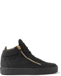 c8003fb07dae0 ... Giuseppe Zanotti Logoball Croc Effect Leather High Top Sneakers