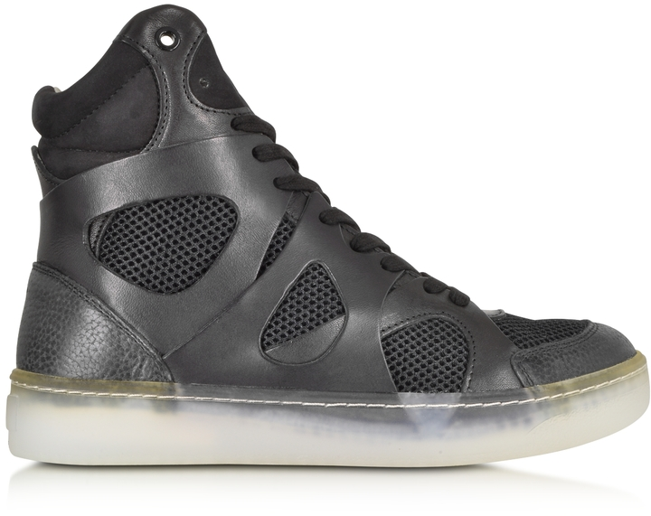 ... McQ by Alexander McQueen Mcq Alexander Mcqueen X Puma Black Leather And  Mesh Move Mid High ...