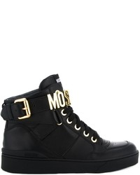 Moschino Logo Plaque Hi Top Sneakers