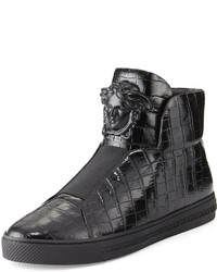 Versace Palazzo Idol Crocodile Embossed Leather High Top Sneaker
