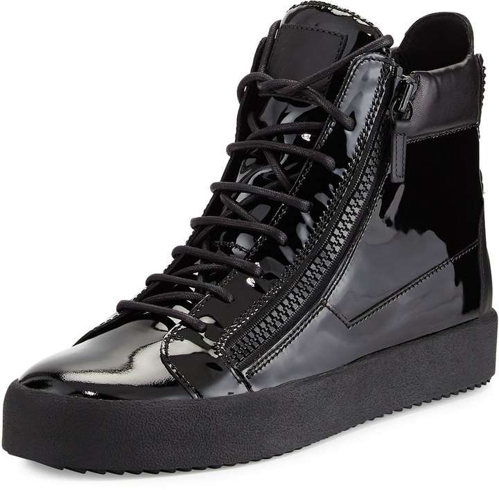 5cb05962165c8 ... Black Leather High Top Sneakers Giuseppe Zanotti Patent Leather High  Top Sneaker ...