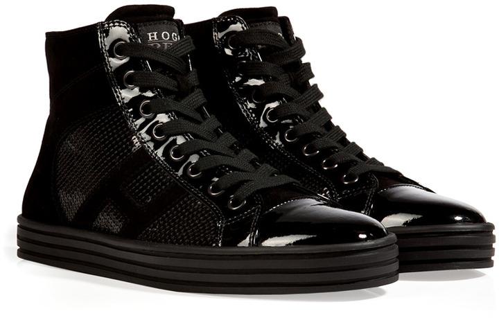 bd9106053f Hogan Rebel Leather High Top Sequined Sneakers In Black, $385 |  STYLEBOP.com | Lookastic.com